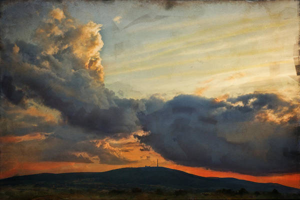 Digital Painting Art Print featuring the photograph Sunset over Holy Cross Mountains by Anna Gora