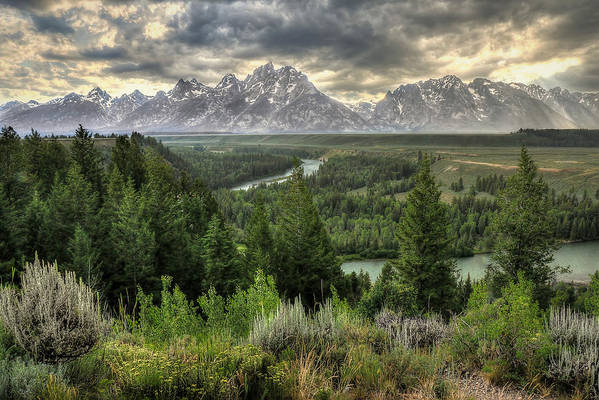 Tetons Art Print featuring the photograph Sunstorm by Ryan Smith