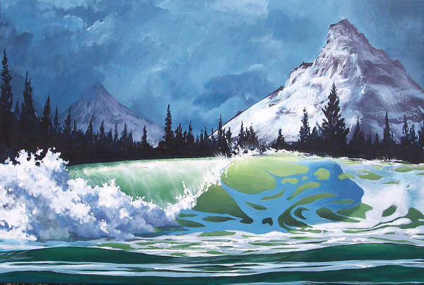 Wave Art Print featuring the painting Surf and Snow by Philip Fleischer