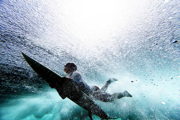Expertise Art Print featuring the photograph Surfer Duck Diving by Subman