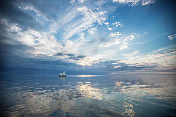 Tranquility Art Print featuring the photograph Tall Ship On The Big Lake by Rudy Malmquist