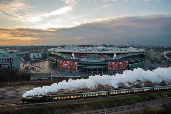 The Emirates Stadium Art Print featuring the photograph The Flying Scotsman Travels The East by Justin Setterfield