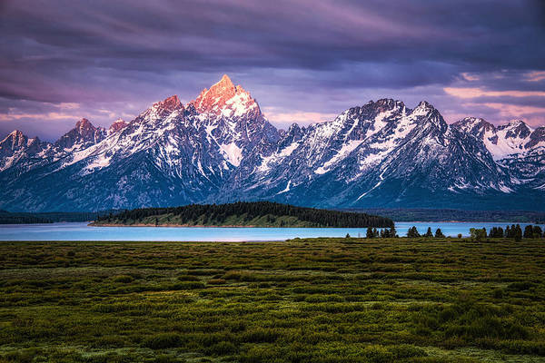 Grass Art Print featuring the photograph The Grand Tetons mountain range in Wyoming, USA. by Stephen Flournoy