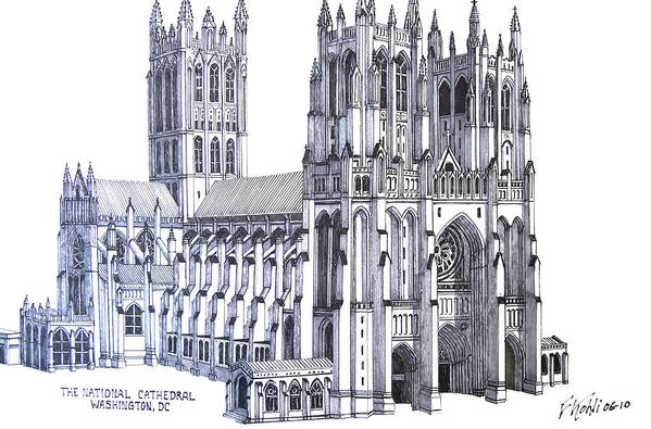 Ink Drawings Art Print featuring the drawing The National Cathedral by Frederic Kohli
