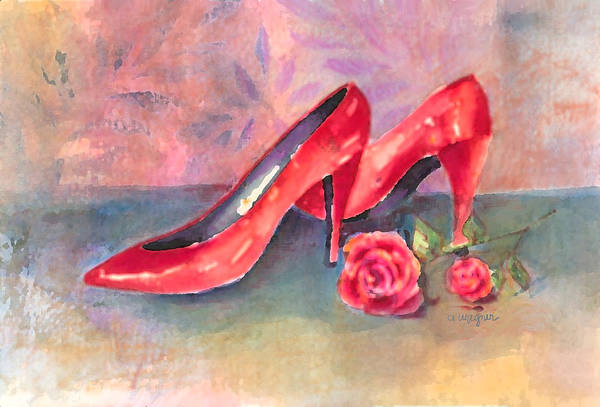 Shoe Art Print featuring the painting The Red Shoes by Arline Wagner