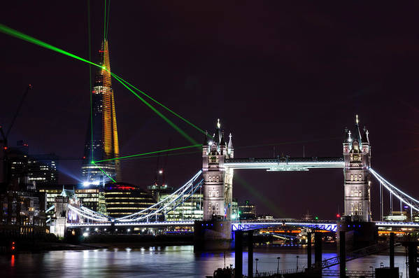 Gothic Style Art Print featuring the photograph The Shard Skyscraper Opening Laser by Dynasoar