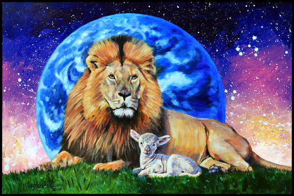 Lion Art Print featuring the painting Thy Kingdom Come by John Lautermilch