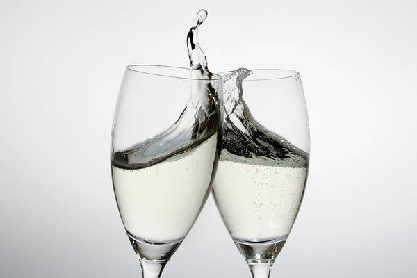 Alcohol Art Print featuring the photograph Toasting With Two Glasses Of Champagne by Dual Dual