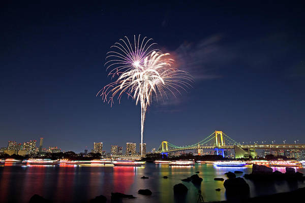Firework Display Art Print featuring the photograph Tokyo Bay Fireworks by Photography By Zhangxun