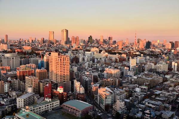 Tokyo Tower Art Print featuring the photograph Tokyo Cityscape At Sunset by Keiko Iwabuchi