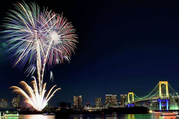Firework Display Art Print featuring the photograph Tokyo Fireworks by Vladimir Zakharov