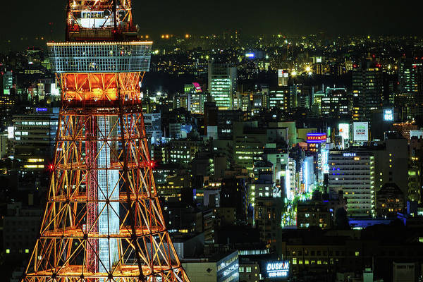 Tokyo Tower Art Print featuring the photograph Tokyo Skyline With Tokyo Tower At Night by Sandro Bisaro