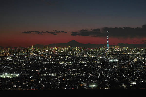Tokyo Tower Art Print featuring the photograph Tokyo Skytree, Fuji, And Tokyo Tower by I Love Photo And Apple.