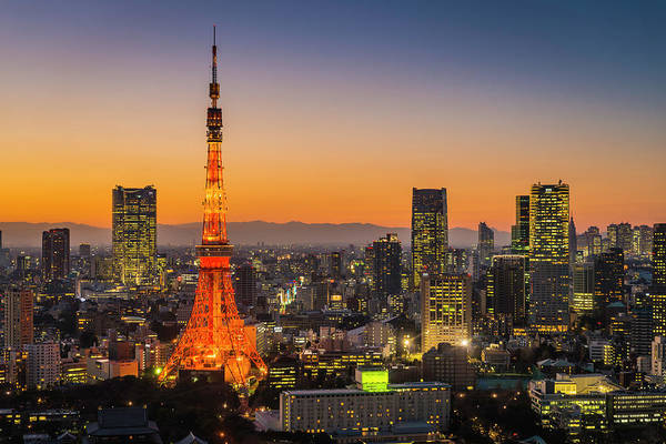 Tokyo Tower Art Print featuring the photograph Tokyo Tower Skyscrapers Neon Futuristic by Fotovoyager