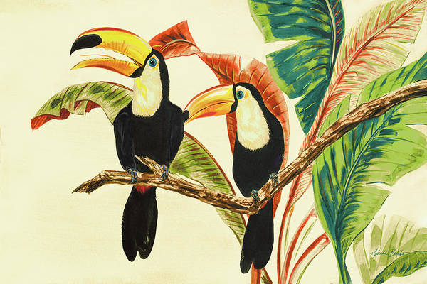 Toucans Art Print featuring the painting Tropical Toucans I by Linda Baliko