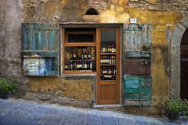 Italy Art Print featuring the photograph Tuscany Wine shop by Al Hurley