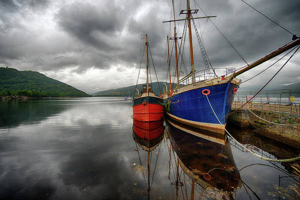 Tranquility Art Print featuring the photograph Two Ships At The Cost Of Loch Fyne by Emad Aljumah