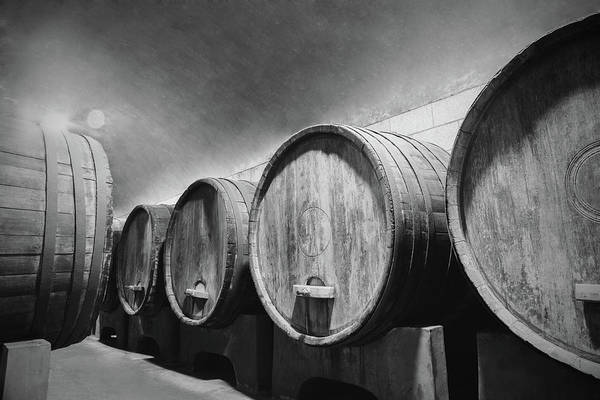 Alcohol Art Print featuring the photograph Underground Wine Cellar With Wooden by Feellife