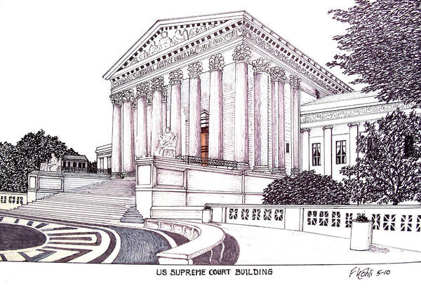Ink Drawings Art Print featuring the drawing US Supreme Court Building by Frederic Kohli