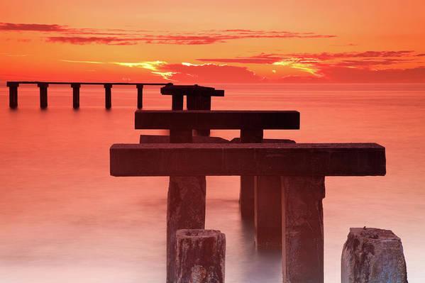 Tranquility Art Print featuring the photograph Usa, Florida, Boca Grande, Ruined Pier by Henryk Sadura