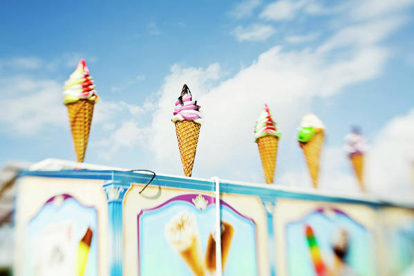Sweden Art Print featuring the photograph Variety Of Ice Cream Sculptures On Cart by Kentaroo Tryman