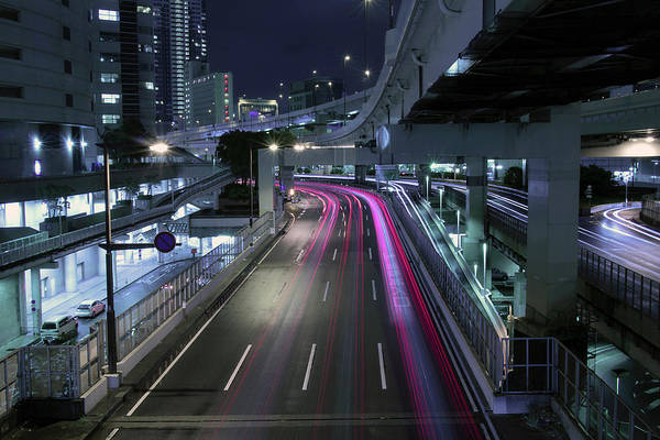 Yokohama Art Print featuring the photograph Vehicle Light Trails On National Route 1 by Digipub