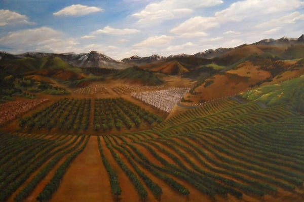 Vineyard Art Print featuring the painting Vineyard by Travis Day
