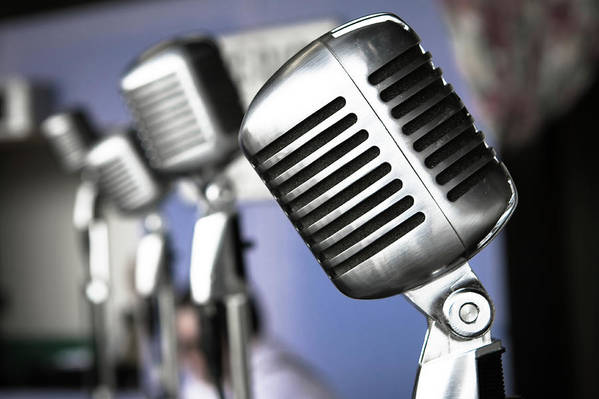 Music Art Print featuring the photograph Vintage Standing Radio Microphones by Photo By Brian T. Evans