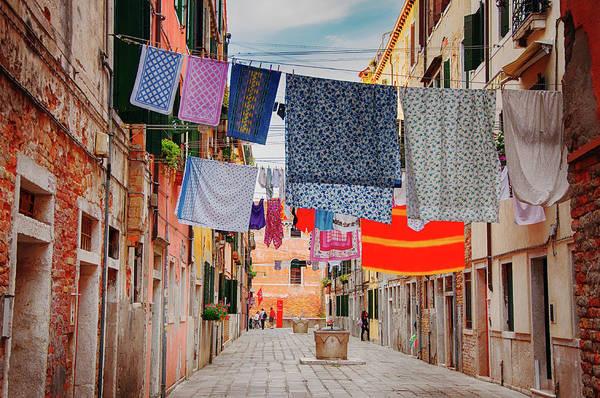 Hanging Art Print featuring the photograph Washing Hanging Across Street, Venice by Svjetlana