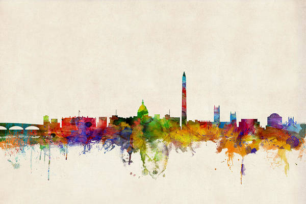 Watercolour Art Print featuring the digital art Washington DC Skyline by Michael Tompsett
