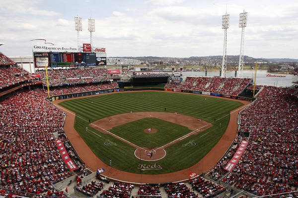Great American Ball Park Art Print featuring the photograph Washington Nationals V. Cincinnati Reds by John Grieshop