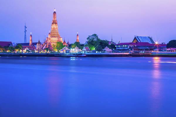 Scenics Art Print featuring the photograph Wat Arun Temple Bangkok Thailand by Deimagine