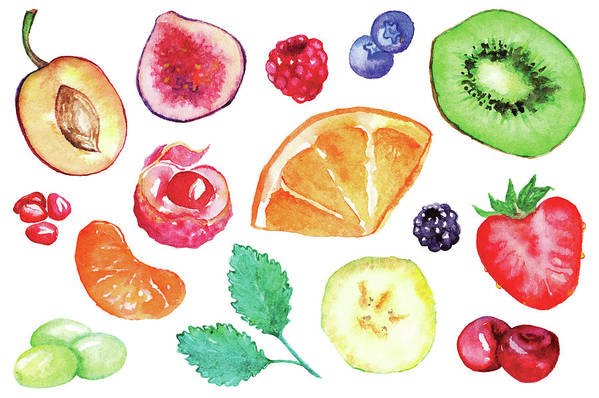Cherry Art Print featuring the digital art Watercolor Exotic Fruit Berry Slice Set by Silmairel
