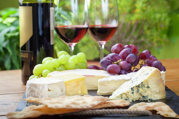 Cheese Art Print featuring the photograph Wine And Cheese Platter by Nicolamargaret