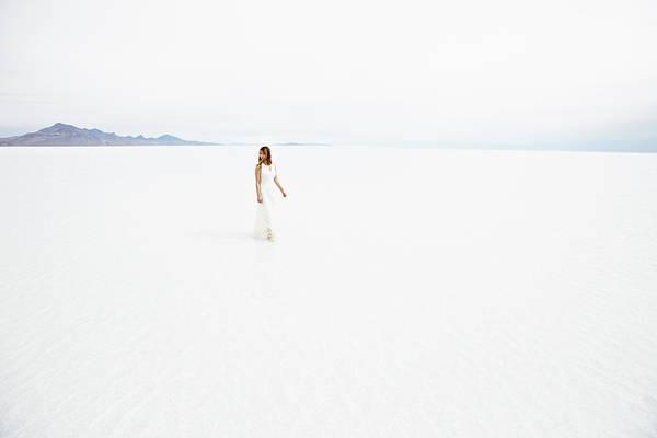 Scenics Art Print featuring the photograph Woman Wearing Dress Walking Through by Thomas Barwick