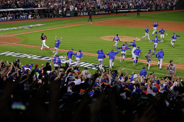 American League Baseball Art Print featuring the photograph World Series - Chicago Cubs V Cleveland by Jamie Squire