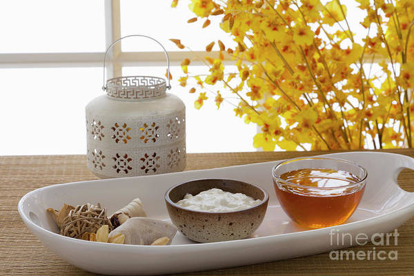 Spa Art Print featuring the photograph Yogurt And Honey On A Tray In A Spa by Juan Silva