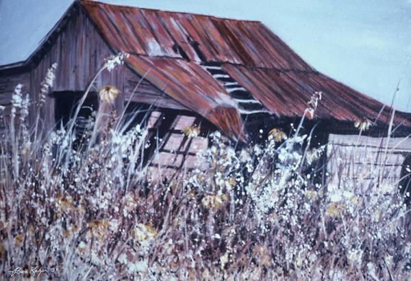 Rustic Art Print featuring the painting Barn in Sunlight by Ben Kiger