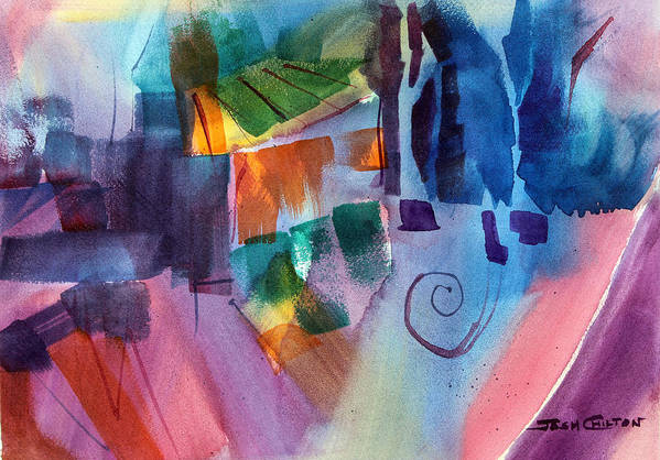 Abstract Watercolor Art Print featuring the painting Huh. by Josh Chilton