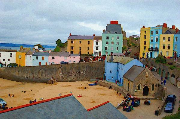 Tenby Art Print featuring the photograph Tenby Village and Castle Wall by Tam Ryan