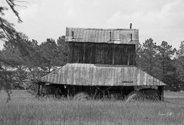Tobacco Art Print featuring the photograph Clewis Family Tobacco Barn II in Black and White by Suzanne Gaff
