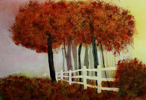 Trees Art Print featuring the painting Colors of Autumn by Mary Gaines