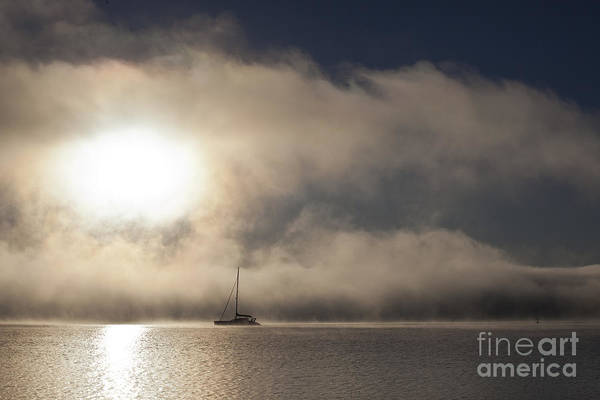 Yacht In Mist Art Print featuring the photograph Dawn mist by Sheila Smart Fine Art Photography