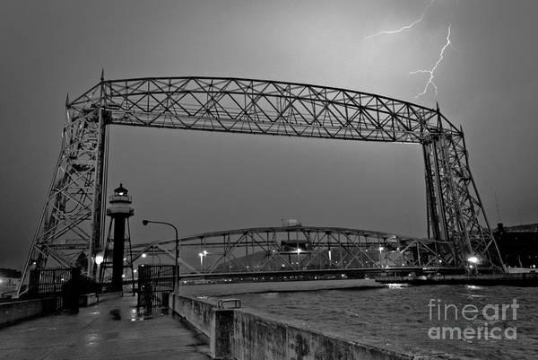 Lift Bridge Art Print featuring the photograph Duluth Lift Bridge Under Lightning by Ever-Curious Photography
