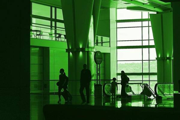 Green Art Print featuring the photograph Green Airport by Ron Morales