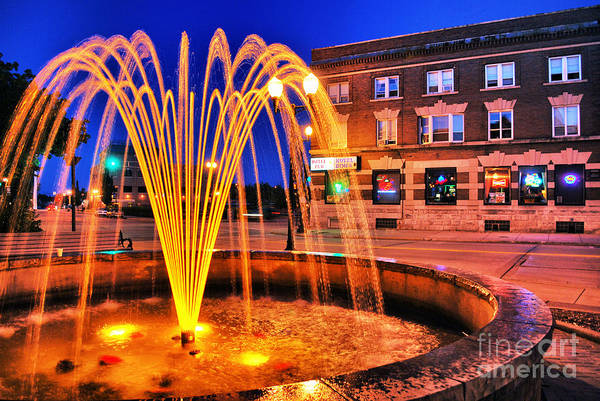 Menasha Art Print featuring the photograph Menasha Lighted Fountain by Ever-Curious Photography