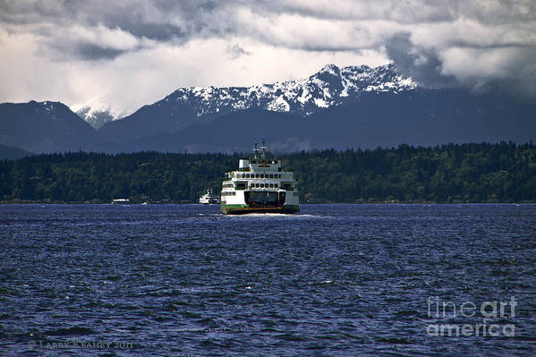 Seattle Art Print featuring the photograph MV Kaleetan Ferry by Larry Keahey
