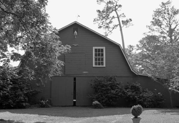 Black And White Art Print featuring the photograph Red Barn in Black and White by Suzanne Gaff