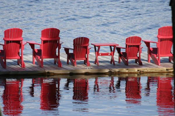 Muskoka Art Print featuring the photograph Red Muskoka Chairs by Dr Carolyn Reinhart