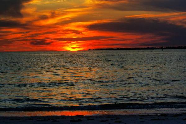 Sunset Art Print featuring the photograph Red Reflections by Florene Welebny